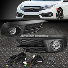 FOR 16-17 HONDA CIVIC SEDAN COUPE CLEAR LENS BUMPER FOG LIGHT LAMPS W/SWITCH