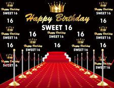 10x8ft Happy Birthday Sweet 16 Red Carpet Photo Background Vinyl Studio Backdrop