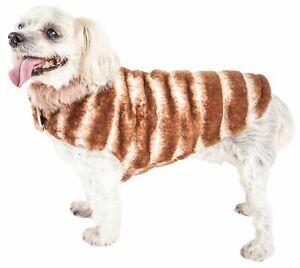 Pet Life  Luxe 'Tira-Poochoo' Tiramisu Patterned Mink Dog Coat Jacket, White ...