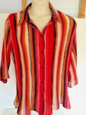 Maggie Barnes Front Button Blouse Multi Color Stripes Flared Bell Sleeves SZ 1X