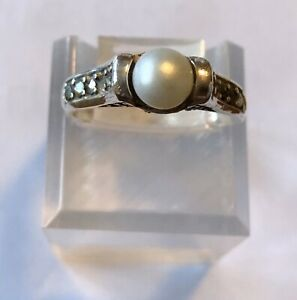 Real Pearl Marcasite Sterling Ring