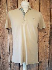 Mens Pretty Green Polo Shirt Beige Medium 44 Chest  paisley floral designer
