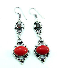 925 Silver Plated Red Coral Gemstone Ethnic Indian Dangle Earrings 1900