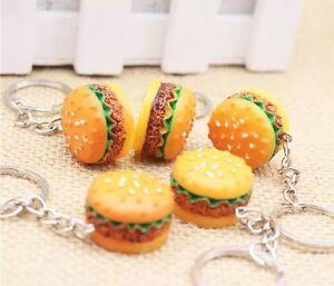 Hamburger Cheeseburger Polymer Clay Key Chain Simulation Food Pendant Keyring