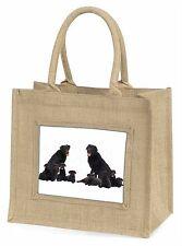 Black Labradors Large Natural Jute Shopping Bag Christmas Gift Idea, AD-L6BLN