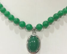 8mm Natural Green Jade Round Gemstone Beads & Oval Pendant Necklace 18''
