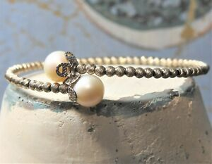 Sterling Silver Beaded Bracelet w Genuine Pearl Ends Bypass Style Memory Wire