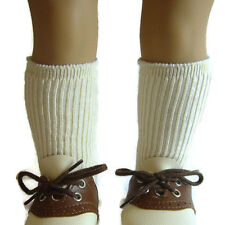 """Beige Ribbed Thick Knee High Socks for 18"""" American Girl Doll Clothes Accessory"""
