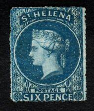 St Helena 1861 SG2a 6d Blue Wmk Large Star Rough Perf LMM SG Cat £425.00