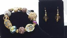 Handmade Gold Crystal Bling Stretch Bracelet & Earring Set with Gold Filled Wire