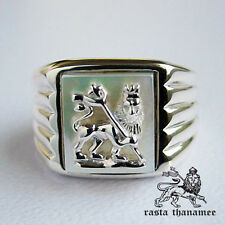 ORIGINAL RASTA THANAMEE SILVER LION PEARL .925 STERLING SILVER RING SZ 9