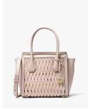 Michael Kors Mercer Studio Woven Leather Crossbody Satchel Soft Pink
