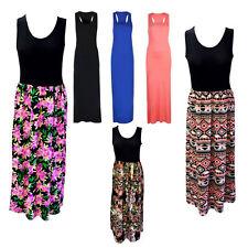 Plus Ladies Women Racer Back Long Maxi Dress Floral Printed Sleeveless Size 8-26 Royal Blue 8