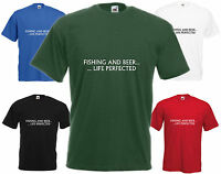 Fishing And Beer Life Perfected Comedy T Shirt Funny Tee Fisherman Top Cool Gift
