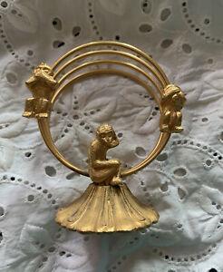 Vintage Gold Tone Florenza Monkey See No Evil  Letter Holder Mid Century 1960
