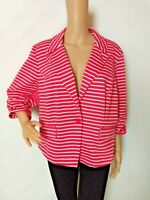 Cato Jacket Blazer Pink Striped White Summer Soft Size 22/24W Ruched Sleeves