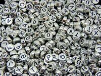 7mm Metallic Silver Round Letter Coin Beads Jewellery Kids Craft Beading UK ML