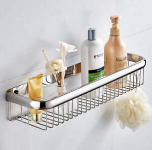 Polished Chrome Wall Mounted Bathroom Shower Storage Caddy Shelf Basket