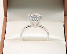 14K SOLID  WHITE GOLD 1.50 CT ROUND BRILLIANT CUT  SOLITAIRE ENGAGEMENT RING