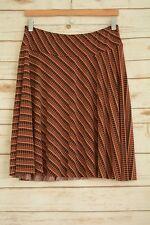 Briggs New York - Red BLACK beige circle print polyester full pleated skirt, M