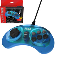 Retro-Bit Sega Genesis USB Wired Game Controller Clear Blue for Window PC / Mac