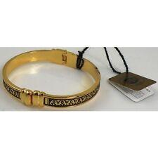 Damascene Gold Cuff Bracelet Geometric Design by Midas of Toledo Spain 8005