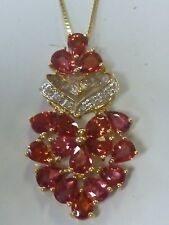 """10K YG Red Sapphire and Diamond Heart Pendent/Charm on a 14K box link 18"""" chain"""