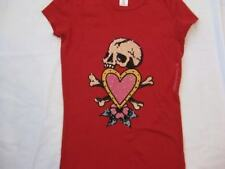 ED HARDY womens sz Med Skull in love heart red t-shirt crystals stones tee NEW