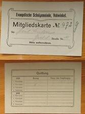 mitgliedskarte 479 y / evangelischw  schulgemeinde vohwinkel 1920/21