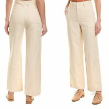 Vince Womens Seam Front Pants Size 6 Linen Blend Wide Leg Trouser $245 High Rise