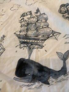 Pottery Barn Whale Twin Flat Sheet Blue White Ships Treasure Chest. Euc