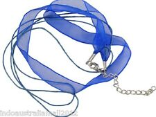 10 x Jewelry Necklace  BLUE Organza Ribbon  with 2 Wax Cords 46.5cm (NFS048-4)