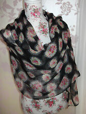 BLACK LONG VINTAGE FLORAL PRINT LADIES FASHION SCARF WRAP SHAWL PASHMINA NEW
