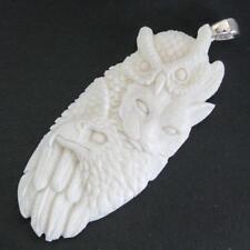 """3"""" OWL WILD CAT EAGLE OWL TOTEM BISON BONE CARVNG 925 STERLING SILVER pendant"""
