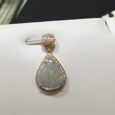 1.15ct Solid Opal Ring Set 9k Gold W/ground Brilliant Cut 0.124ct Diamond 171221
