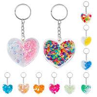 Cute Women Heart Shape Acrylic Keychain Colored Gravel Keyring Bag Pendant