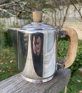 Antique Art Deco Silver Plated Teapot French Ercuis Wood Handle