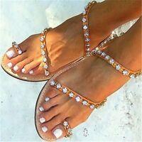 FASHION Women Sandals Rhinestone Flat Heels Sandals Beach Shoes Woman Plus Size