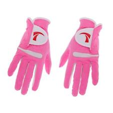 1 Pair Women Golf Glove Super Fiber Cloth Non-slip Breathable Pink M
