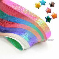 90stk Falten Glücksstern Origami DIY Papierbasteln Wunsch Sterne Gradient Bastel