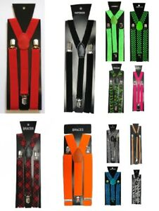 Unisex Braces elastic Men's Trouser Y-Back Suspenders Clip on Braces  Adjustable