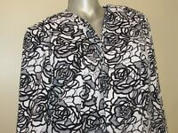Women's JONES STUDIO Black and White Floral Long Blazer Jacket Size 12 LARGE