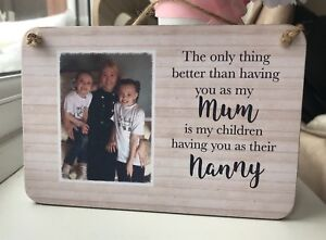 Personalised Wooden Sign Plaque Shabby Chic Gift Mum Nanny Photo Gift