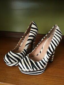 Topshop platform heels 37 animal print leather hair zebra party