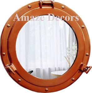 """12"""" Copper Finish Aluminium Porthole Mirror Cabin Boat Porthole Window"""
