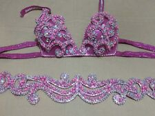 Egyptian Belly Dance Costume bra & Belt Set Professional  Dancing Pink