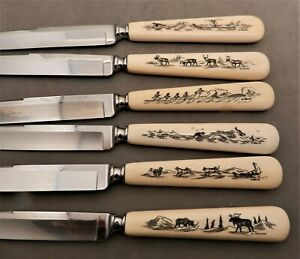 VINTAGE W WALLUK SCRIMSHAW GENUINE ESKIMO 6PC KNIFE SET, +BOX,9""