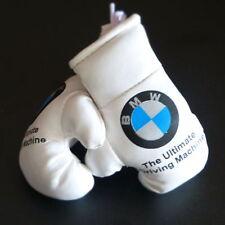 Mini Boxhandschuhe BMW z.B. für Auto Innenspiegel Kunstleder Weiss Geschenk