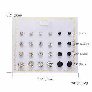 12/20Pairs Rhinestone Crystal Pearl Earrings Set Stud Women Wholesale Jewelry