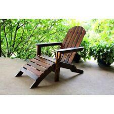 International Caravan Outdoor Adirondack Chair with Footrest, Brown